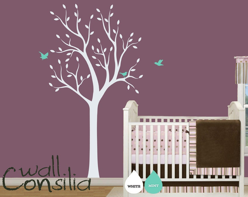 Baby nursery wall decals white tree wall decal by wallconsilia for Baby nursery tree mural
