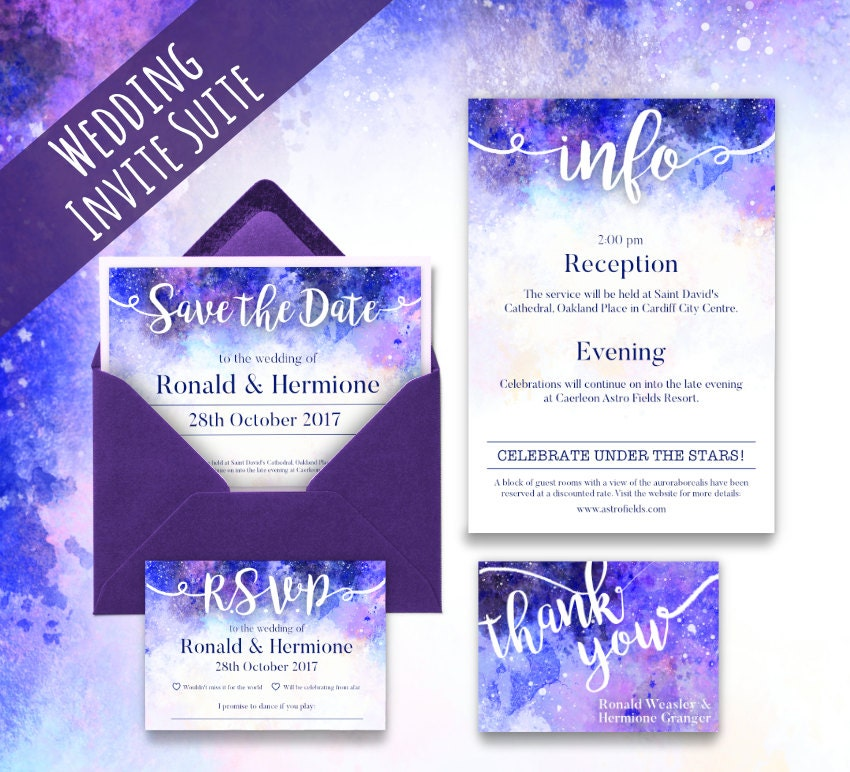 Customisable Galaxy Wedding Invitation Set. Written in the stars invitation suite. Pink Purple and Blue Colours.
