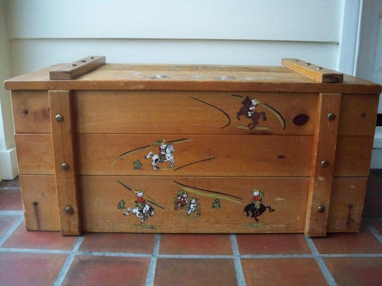 vintage cowboy wood toy box circa 1960s by modelvintage. Black Bedroom Furniture Sets. Home Design Ideas