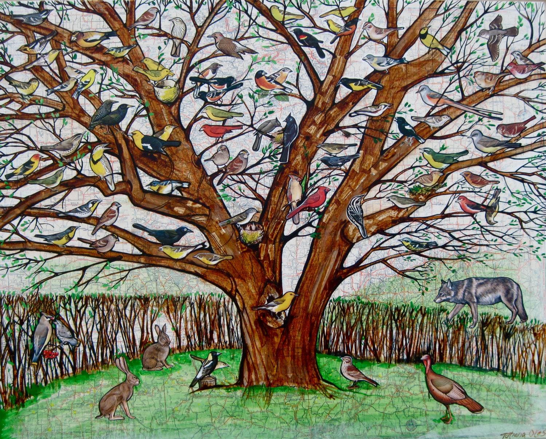Tree with Birds/ Animals / Nature / Wall Art / Map / Room Decor / Art Print - tatianaflor