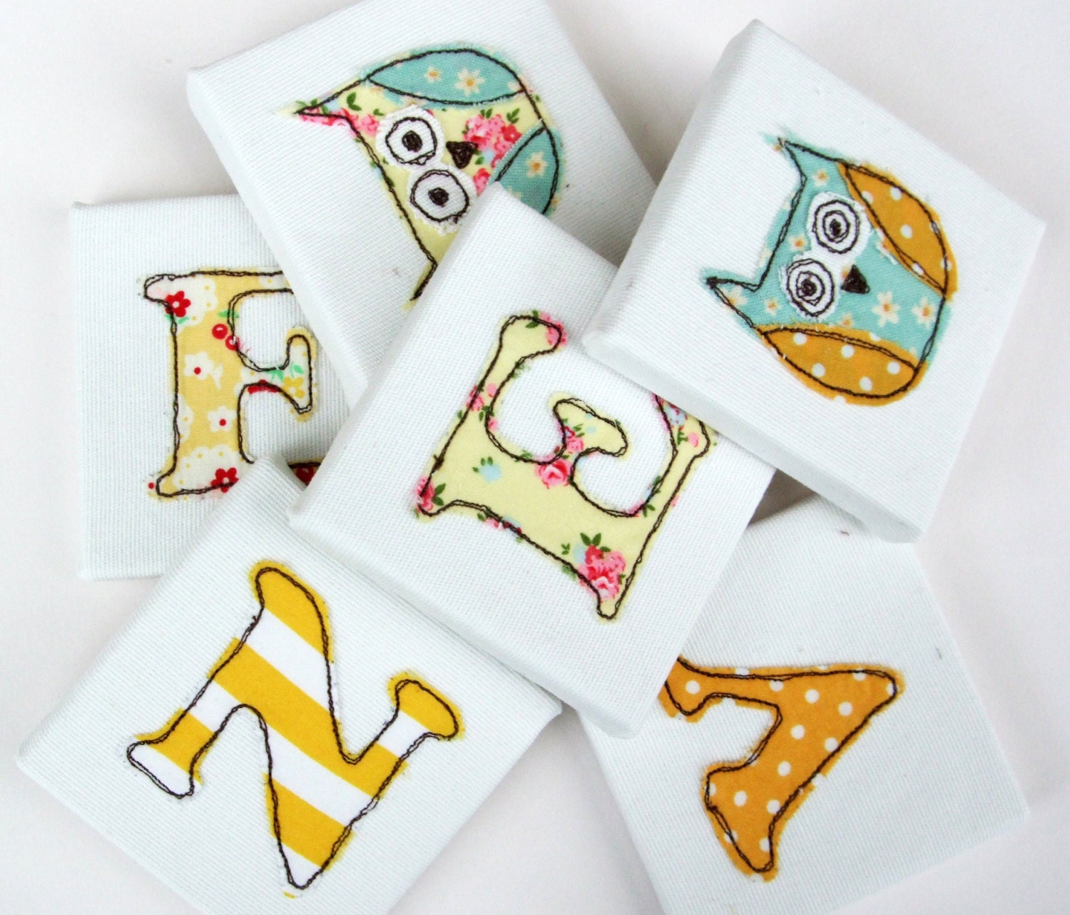 Childs Mini Canvas Yellow Name Letters  White  Mini Canvas Nursery Decor  Kids Fabric Letters  Personalised Door Letters  Door Plaque