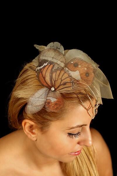 Fluttery глава бабочки шт с бабочками из органзы и голая Veil тон