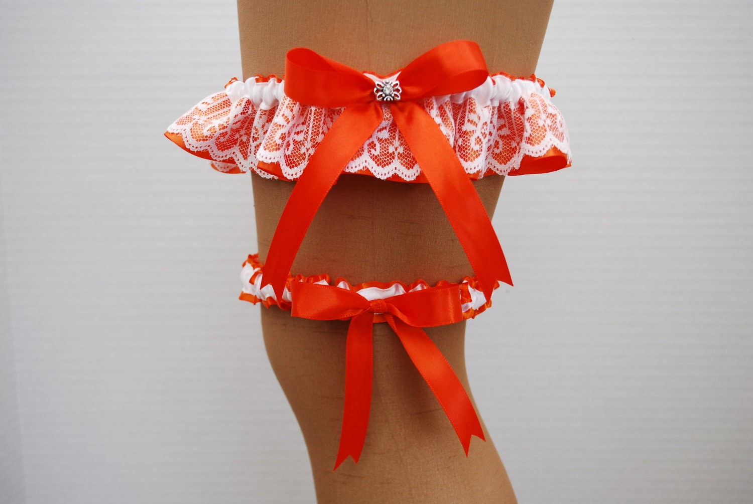 Wedding Garter Set - Torrid Orange Satin Ribbon with White Lace Overlay and Swarovski Crystal Charm - KimKatDesigns