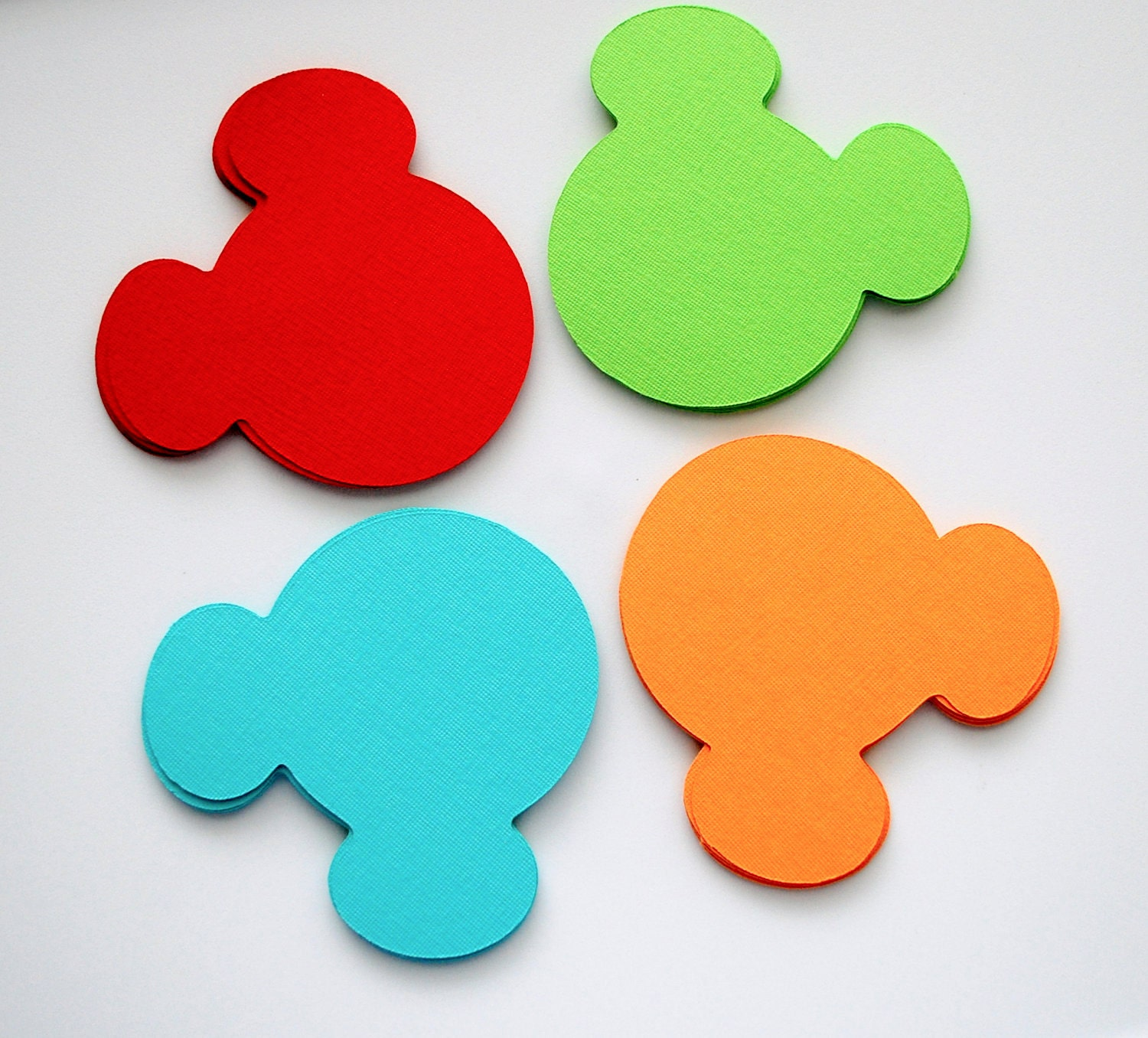 36 Mickey Mouse die cut (4 x3.75 inches) in Fun Colors: Lime green, red, orange and Turquoise A181