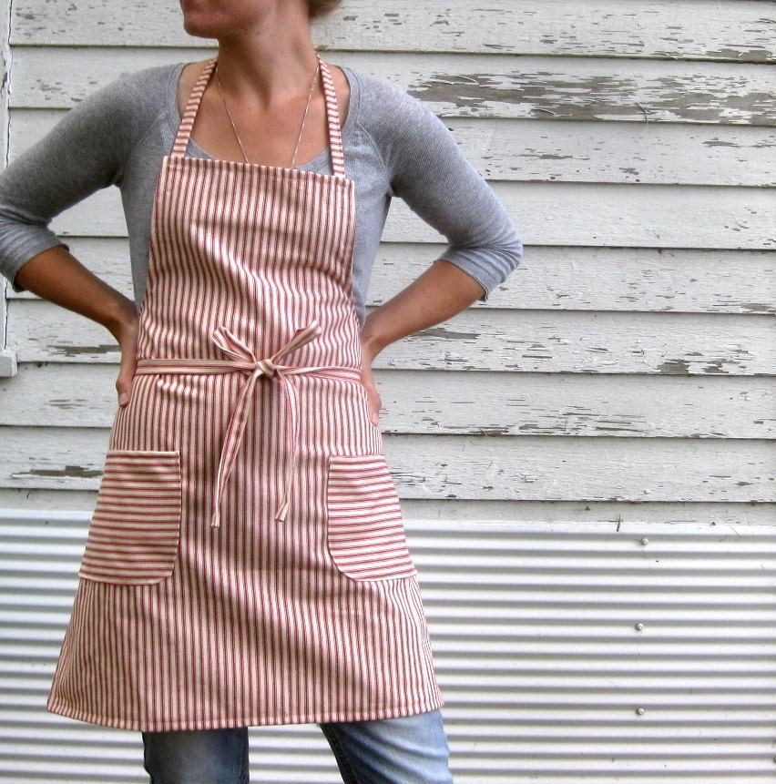 Rustic Full Kitchen Apron for Him or Her in Red Cotton Ticking in The French Chef - meyertextileco