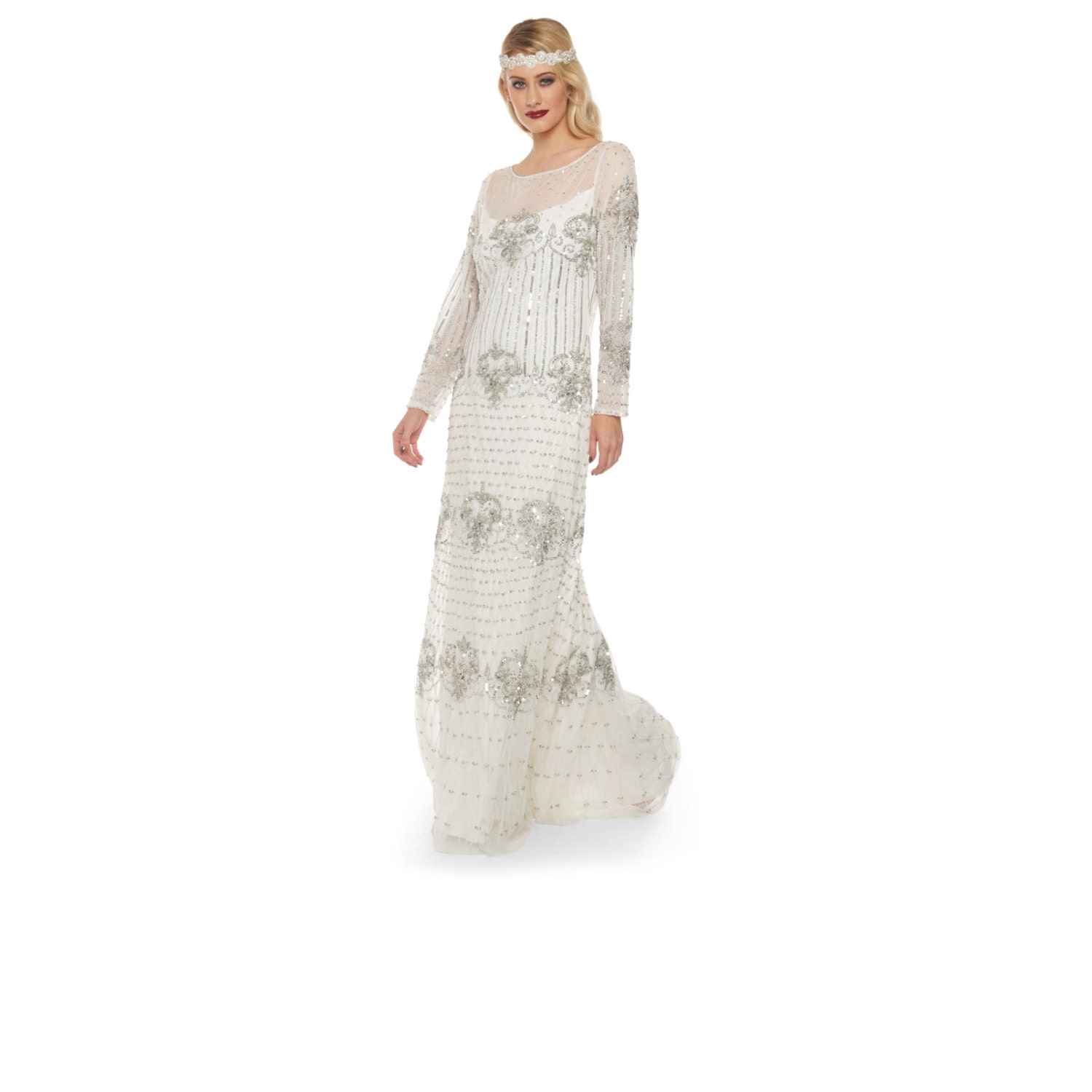 PRE ORDER White Silver Wedding Gown Prom Maxi Dolores Dress with Sleeves 20s inspired Flapper Great Gatsby Art Deco Reception Beach Wedding