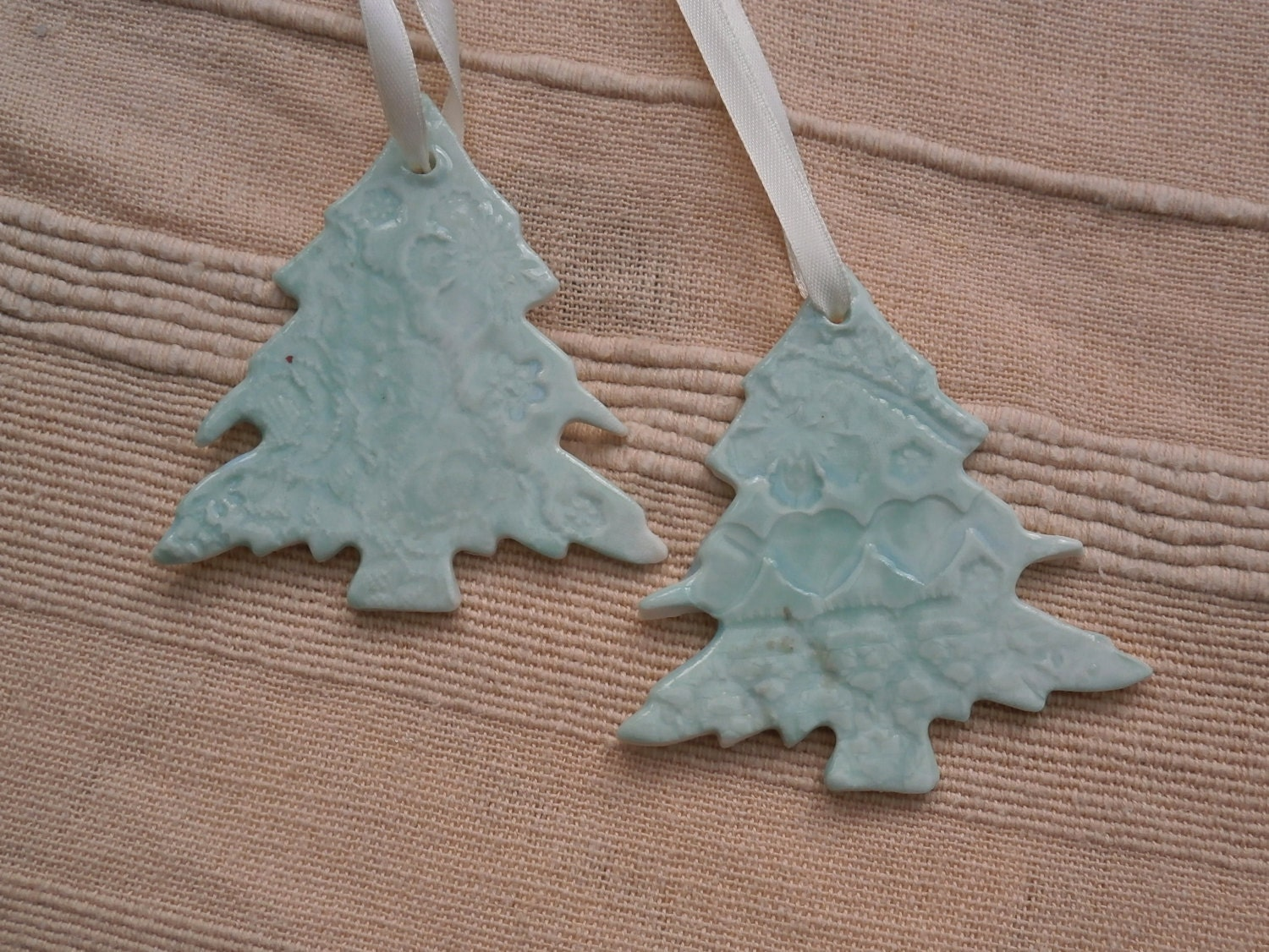 Ceramic hanging Christmas ornament  light turquoise tree ( listing for ONE)