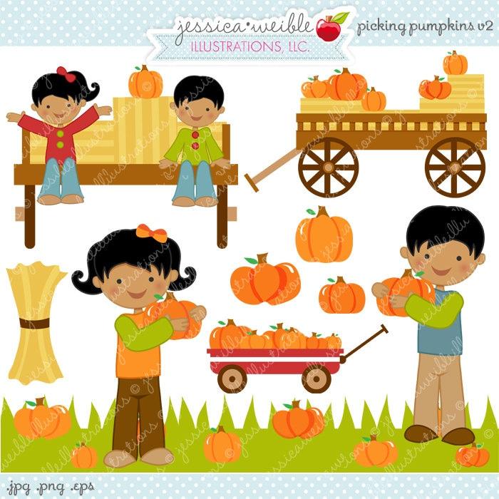 Hayride Clip Art Picking pumpkins v2 clipart