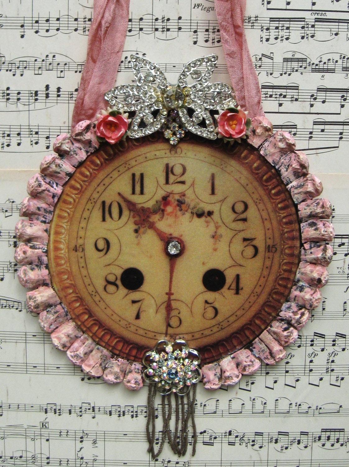 Vintage French Clock Home Decor Shabby Pink French Chic Decorative ...