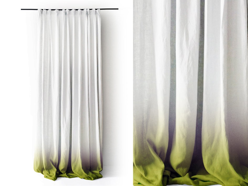 items similar to ombre white linen curtain panels green fade to white