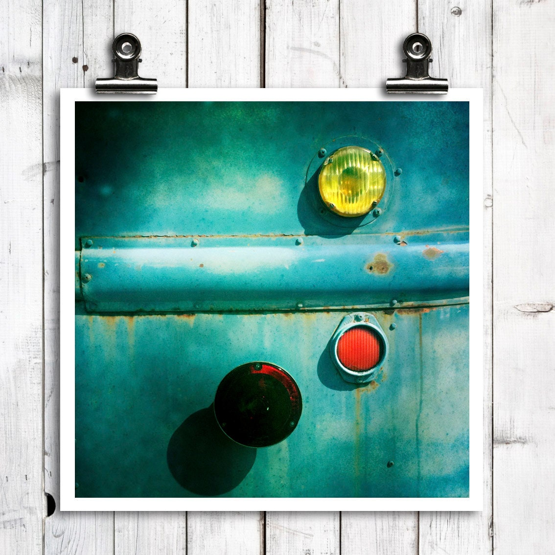 "industrial wall art, tail lights, modern home decor, large wall art, rustic modern -  ""Right Lights"" - 8x8 photograph - MTPhotoJournal"