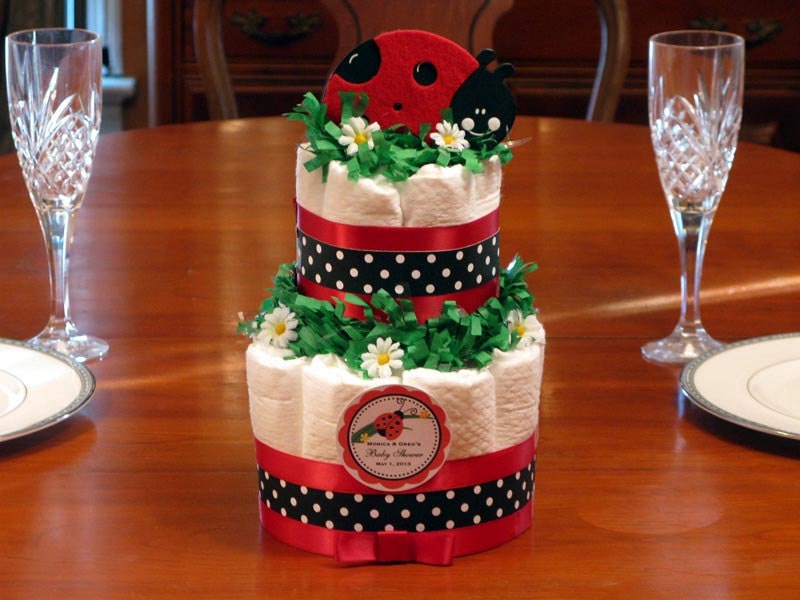 cake centerpiece 2 tiers red pink ladybug baby shower favors