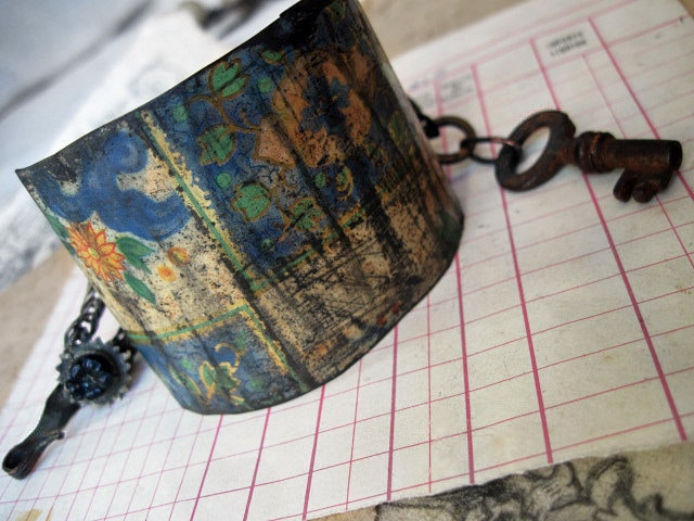 Behind the Seal of Sacred Writings. Tea Tin Cuff with Antique Kuchi and Key