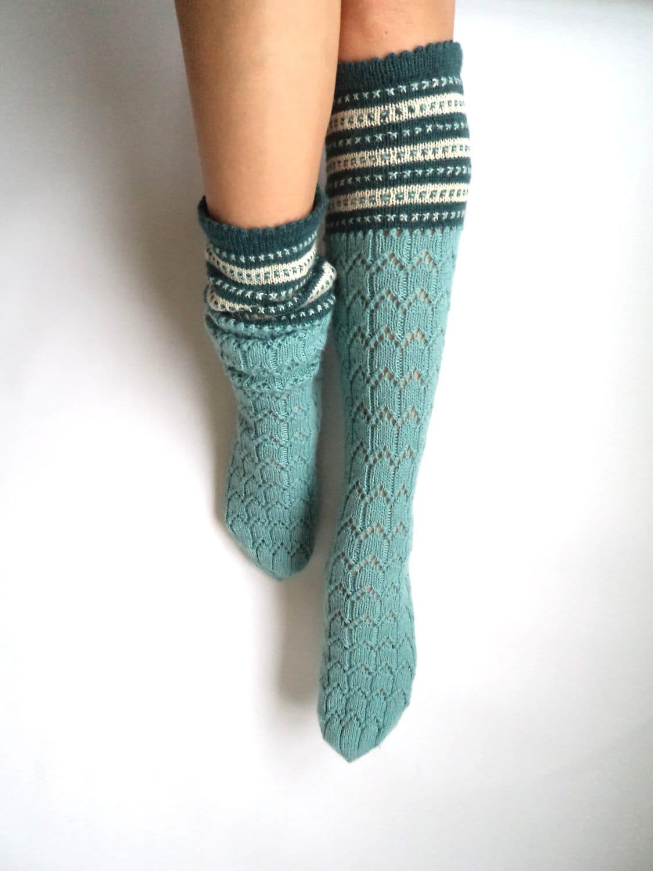 Boot socks. Knee high socks. Leg warmers. Mint green with white and teal. Wool socks. Hand knit socks. Lace socks. Geometric pattern. - GrietaKnits