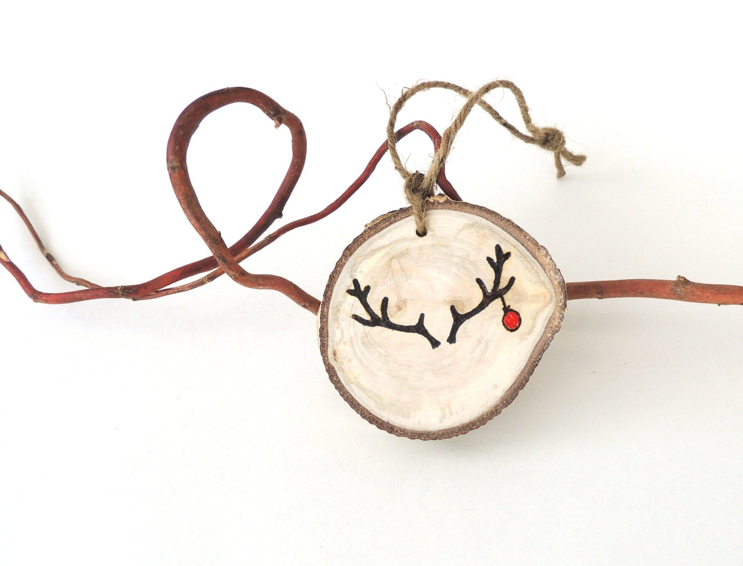 Rustic Christmas Ornament, Wood Reindeer Ornament,, Deck the Antlers, Tree Slice Charm,  Natural Christmas Ornament, Woodland - VaniTeaz