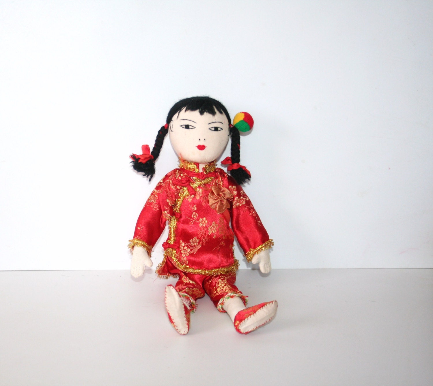 Classic Old Vintage Cloth Asian Doll  sewn on features yarn hairtraditional dress MEMsArtShop.