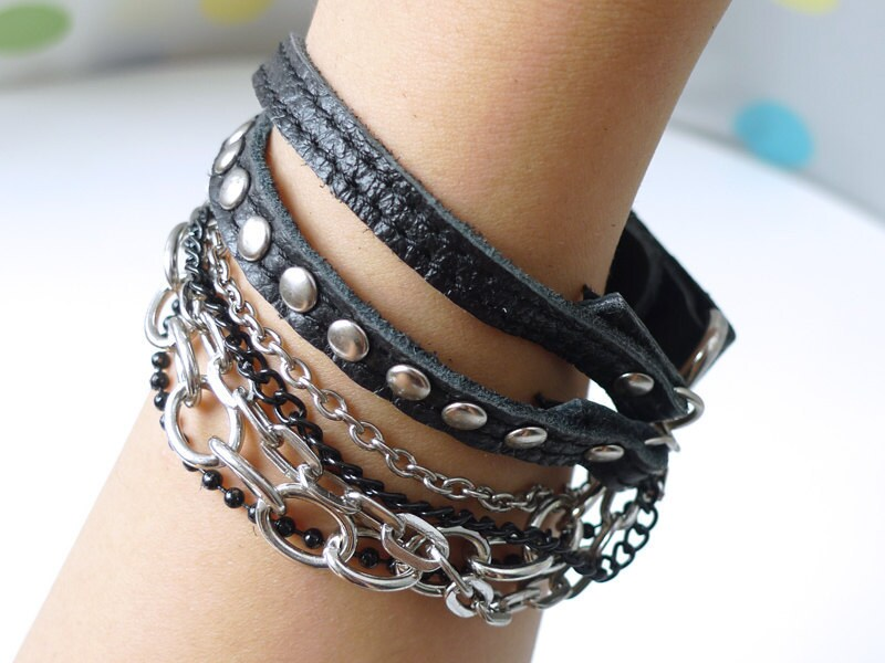 Chic Black Leather Bracelet With Rivets and Chains-SALE