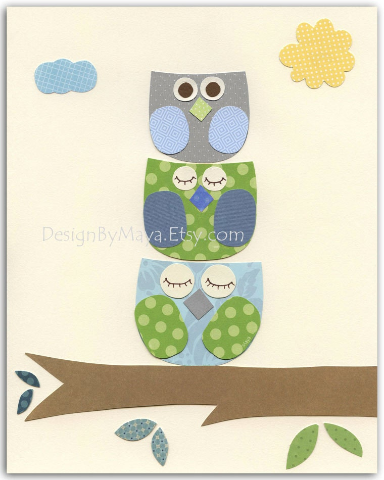Items similar to owl decor nursery print for baby boy 39 s for Baby owl decoration