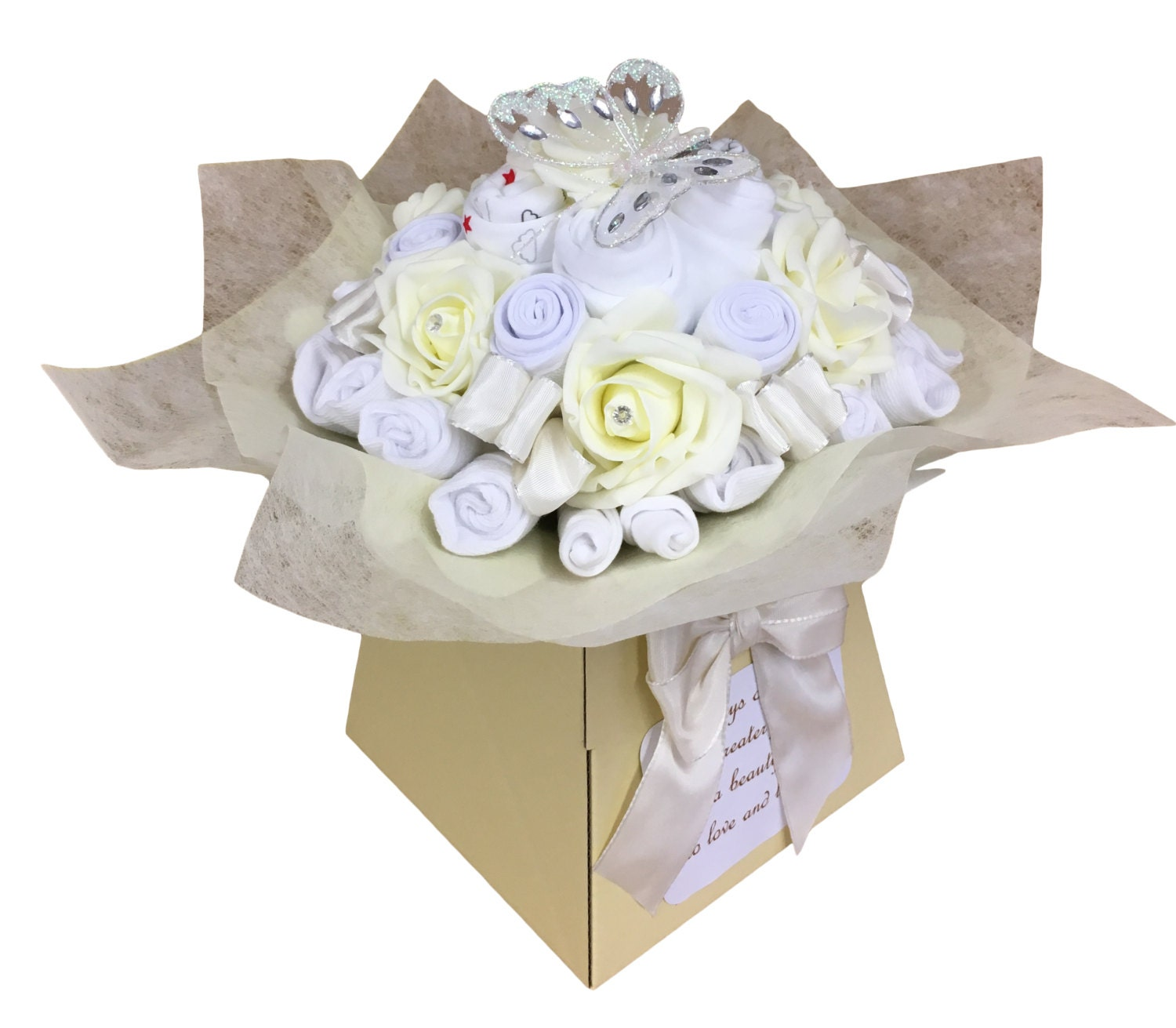 New Baby Gift  Baby Clothes Bouquet  Baby Shower Gift  Diaper Cake  Unisex  19 items of Baby Clothes  Neutral Baby Gift