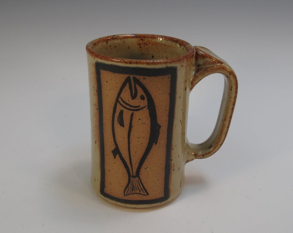 Speckled Tan Four-Finger Mug with Hand Drawn Fish