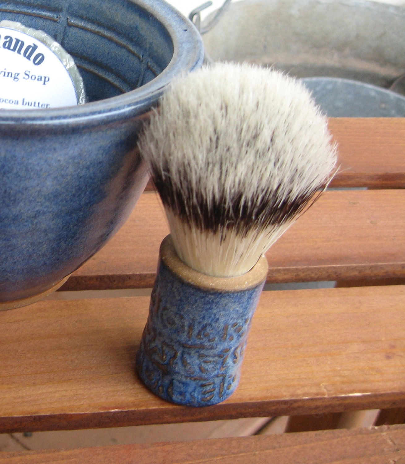 Mens Textured Shaving Brush Cobalt Blue READY TO SHIP