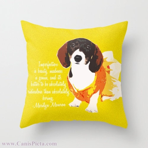 Throw Pillow Dachshund Puppy 16x16 Graphic Print by CanisPicta