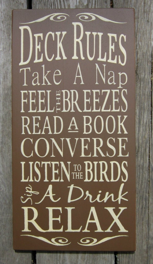 deck rules large wood typography sign by bedlamcountrycrafts