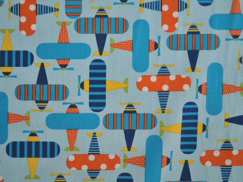 Unavailable listing on etsy for Airplane print cotton fabric