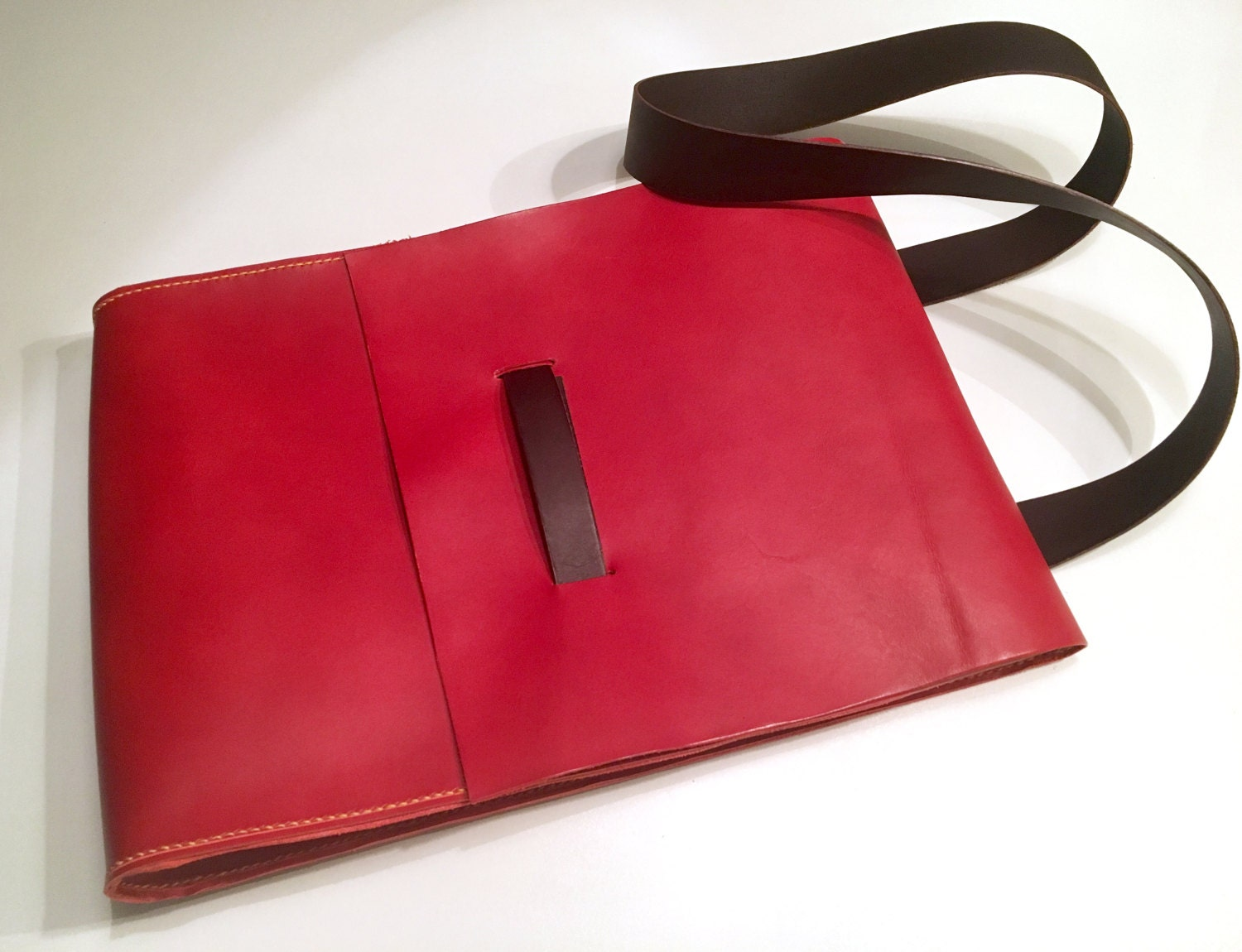 Handmade fully handstitched red vegetable tanned leather laptop crossbody messenger bag