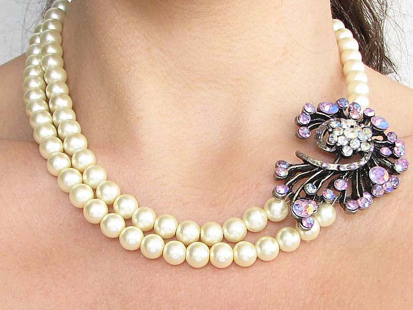 Wedding Jewelry Bridal Statement Necklace Bridal Jewelry Purple Necklace Double Strand
