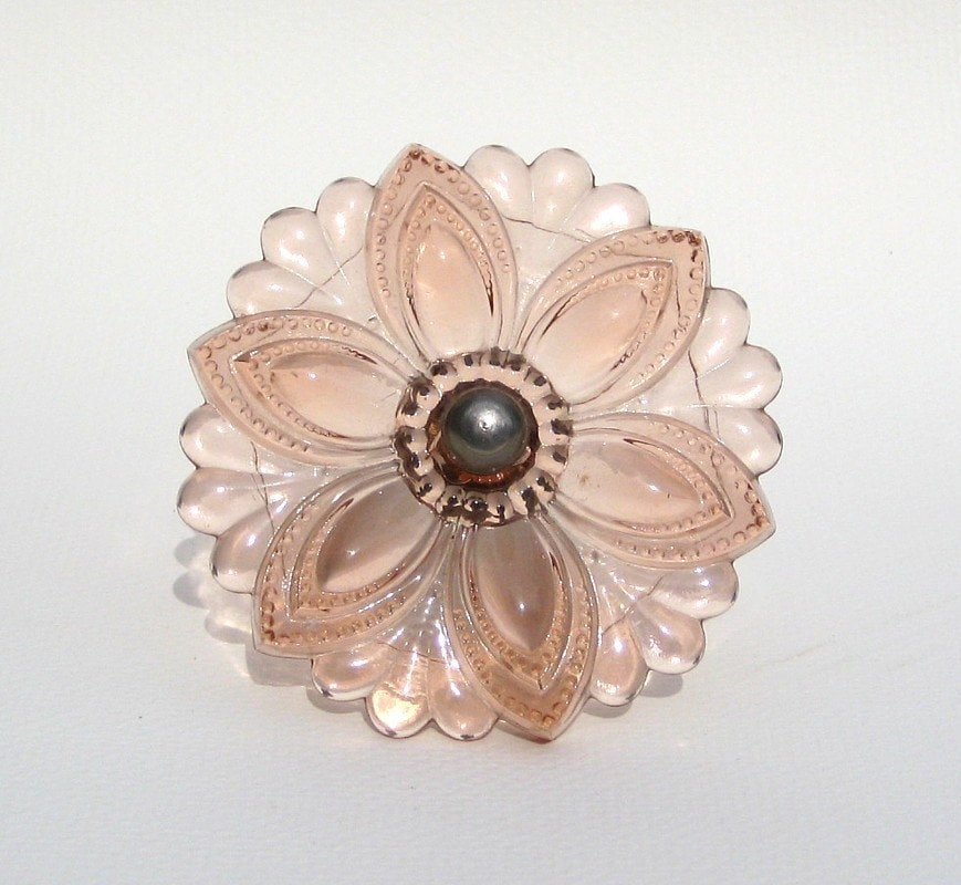 antique glass curtain tie back pink rosette by uncommoneye