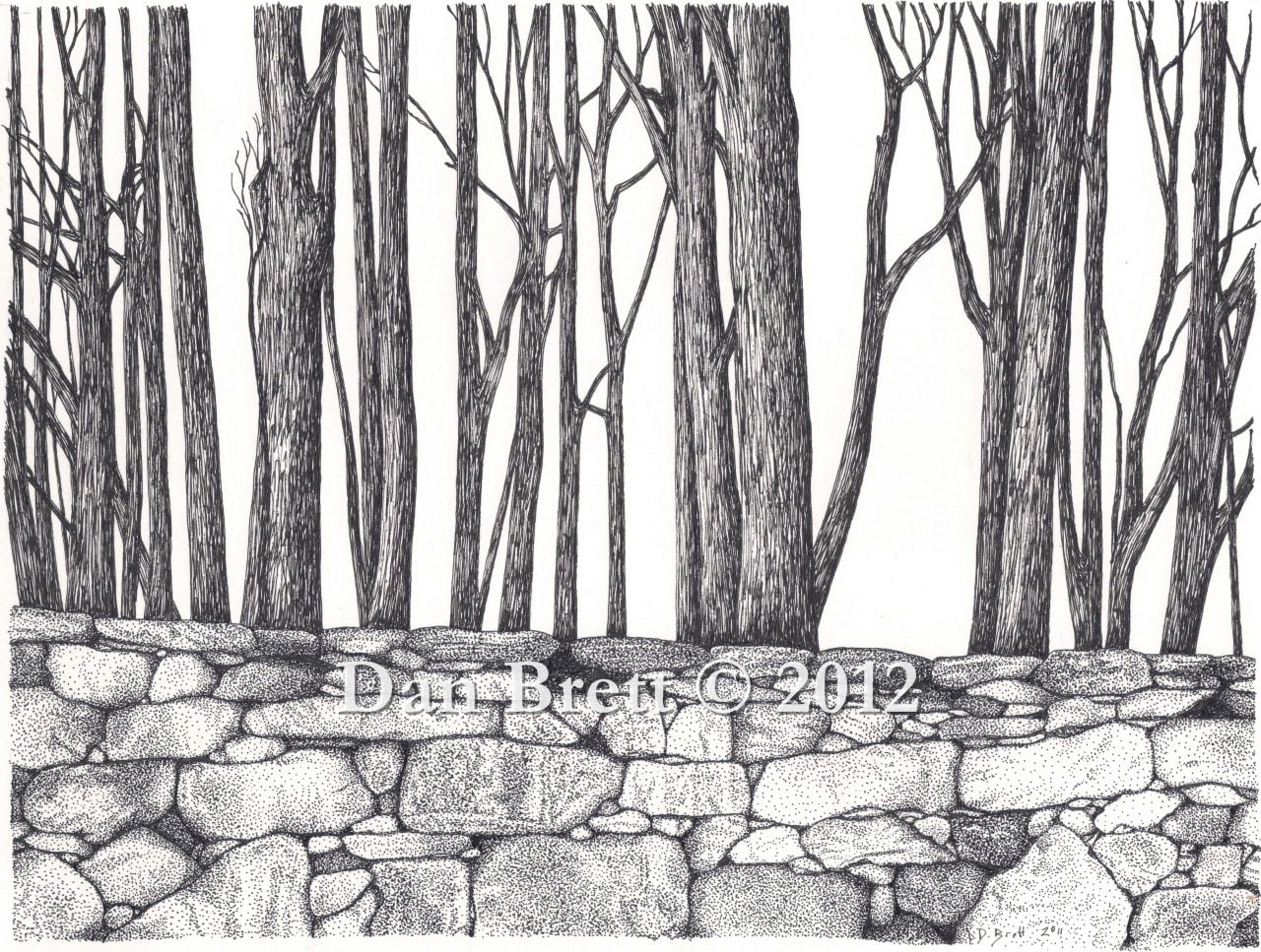 """Items similar to Pen and Ink Drawing """"Stone Wall and Woods ... Drawing Of A Stone"""