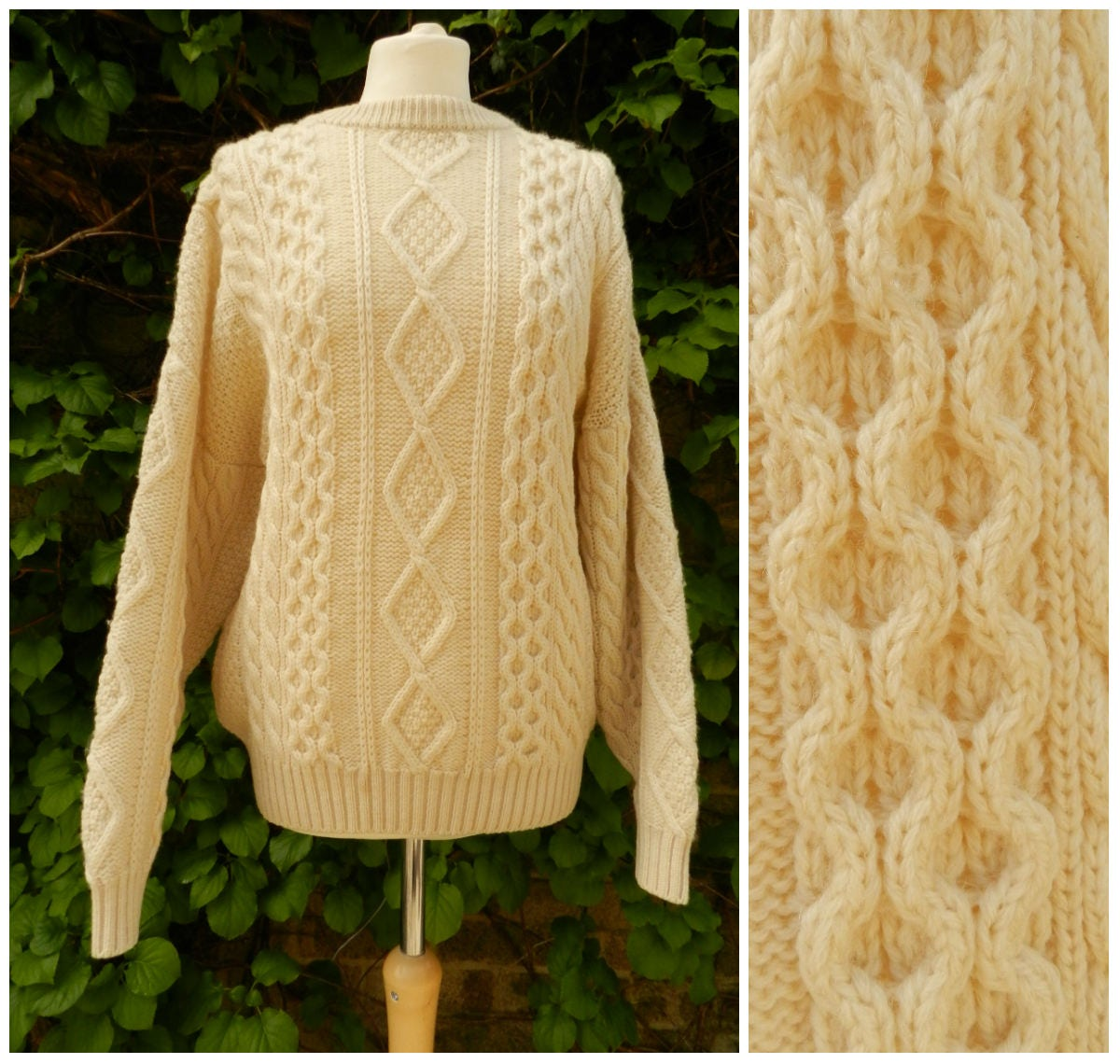 70s 80s PURE NEW WOOL cream aran cable knit cosy sweater jumper ribbed crew neck M  L