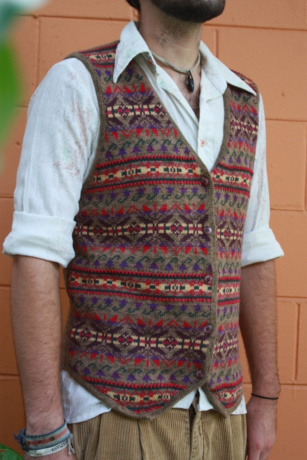 Sweater Vest Mens Button - Gray Cardigan Sweater