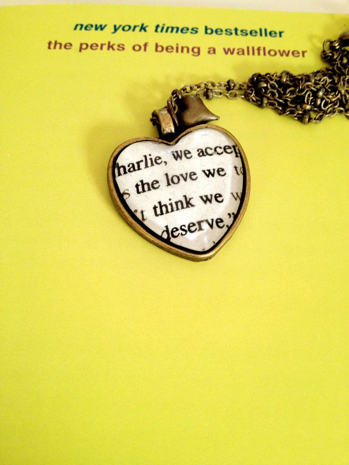Perks of Being a Wallflower Antiqued Bronze Heart Book Page Necklace - AuthoredAdornments