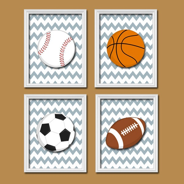 Basketball Sports Canvas Wall Art For Boys Bedroom Decor: Boy Wall Art Nursery Canvas Artwork Child Set Of 4 By
