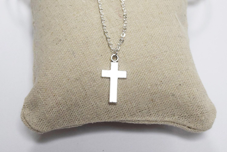 Cross Necklace  Silver necklace  Silver cross necklace  Christian necklace  Chain necklace  Mens necklace  cross pendant necklace