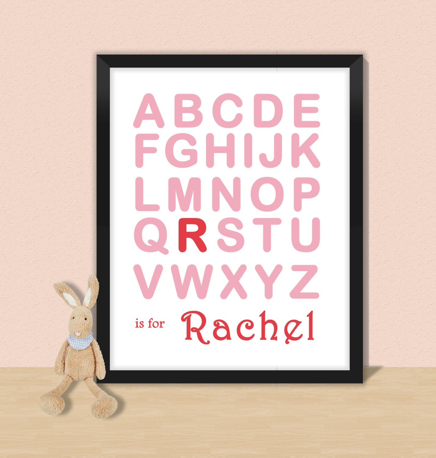 Nursery name wall art  alphabet print  customised baby letters for wall  letter R  nersery decor  baby name letters  alphabet letter