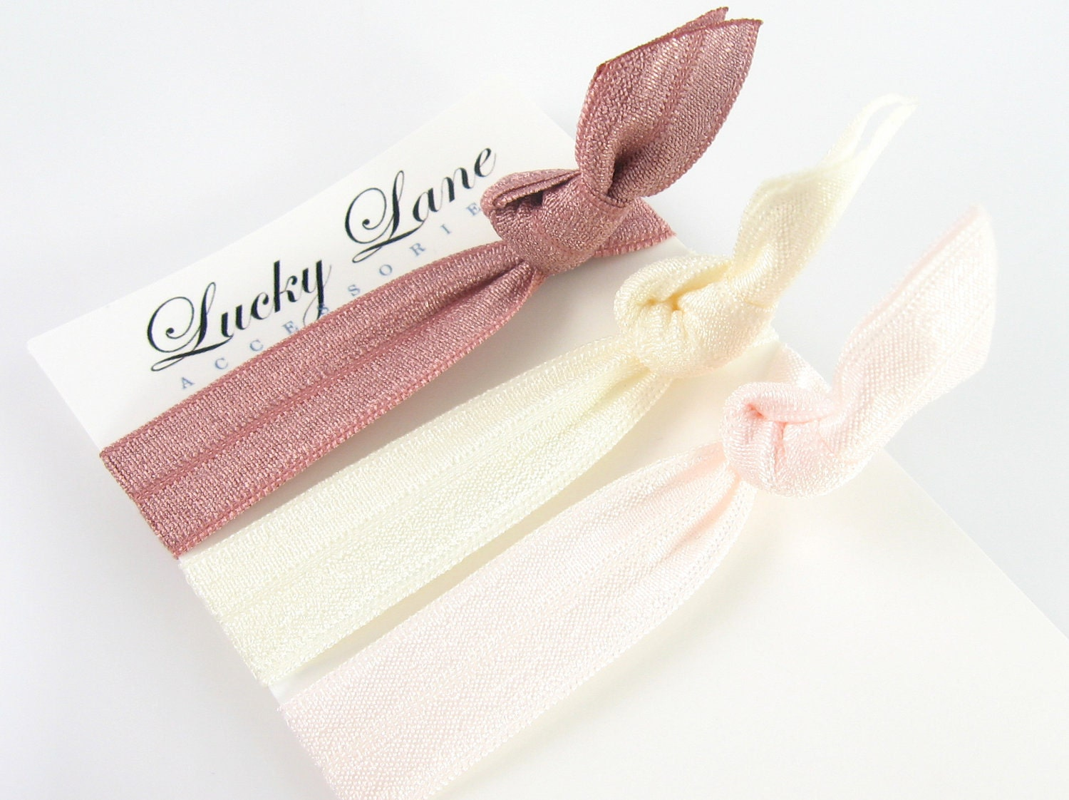 Elastic Hair Ties in Romance - Knotted No Crease Pony Tail Holder - Bracelet Trendy Accessory Mauve Ivory Cream Pale Pink - LuckyLaneAccessories
