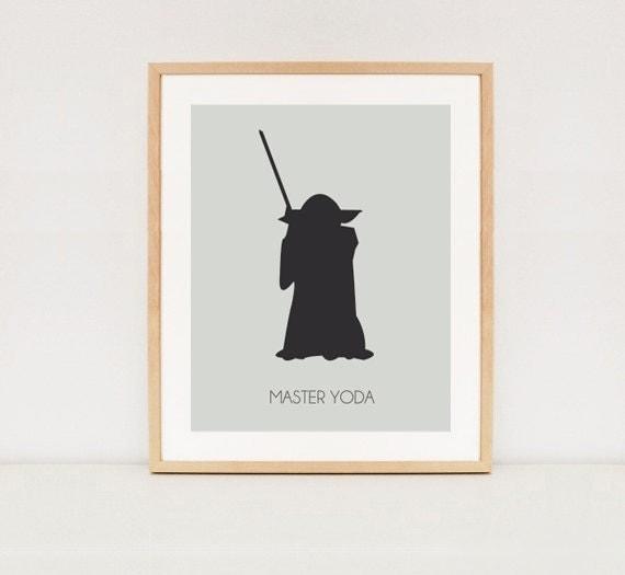 Master Yoda Silhouette poster - Star wars printable wall art - INSTANT    Yoda Silhouette Black