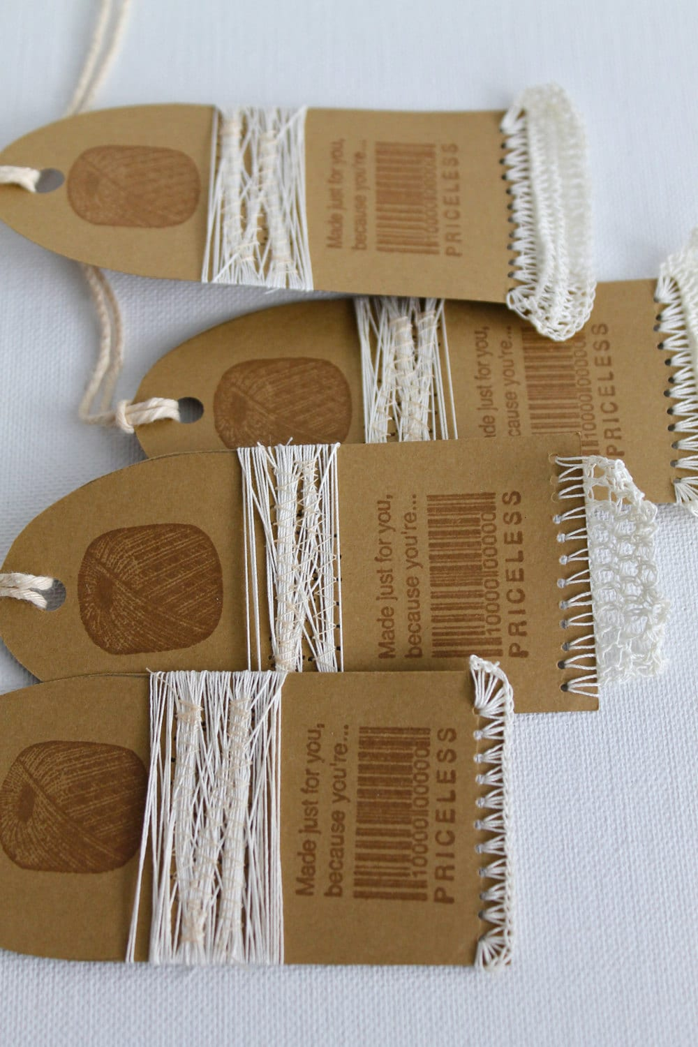 Crochet Gift Tags Set of Four Handmade Country Tags