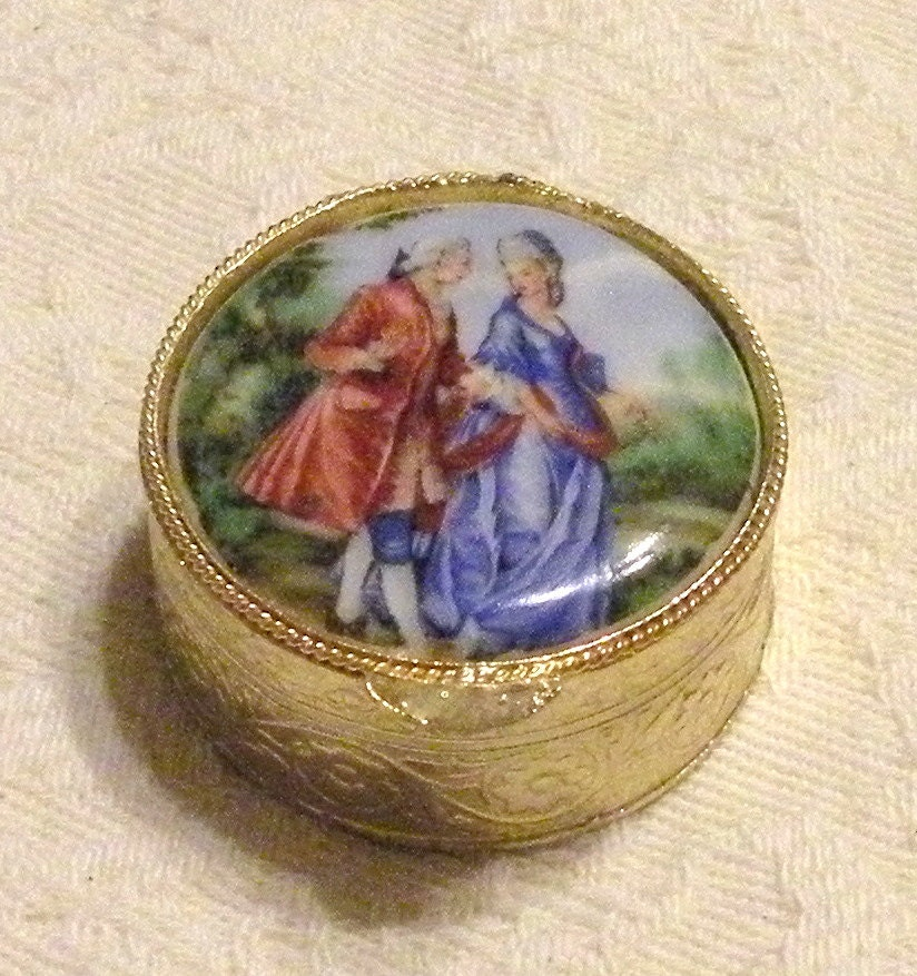Vintage Snuff Box Porcelain Lid Victorian By