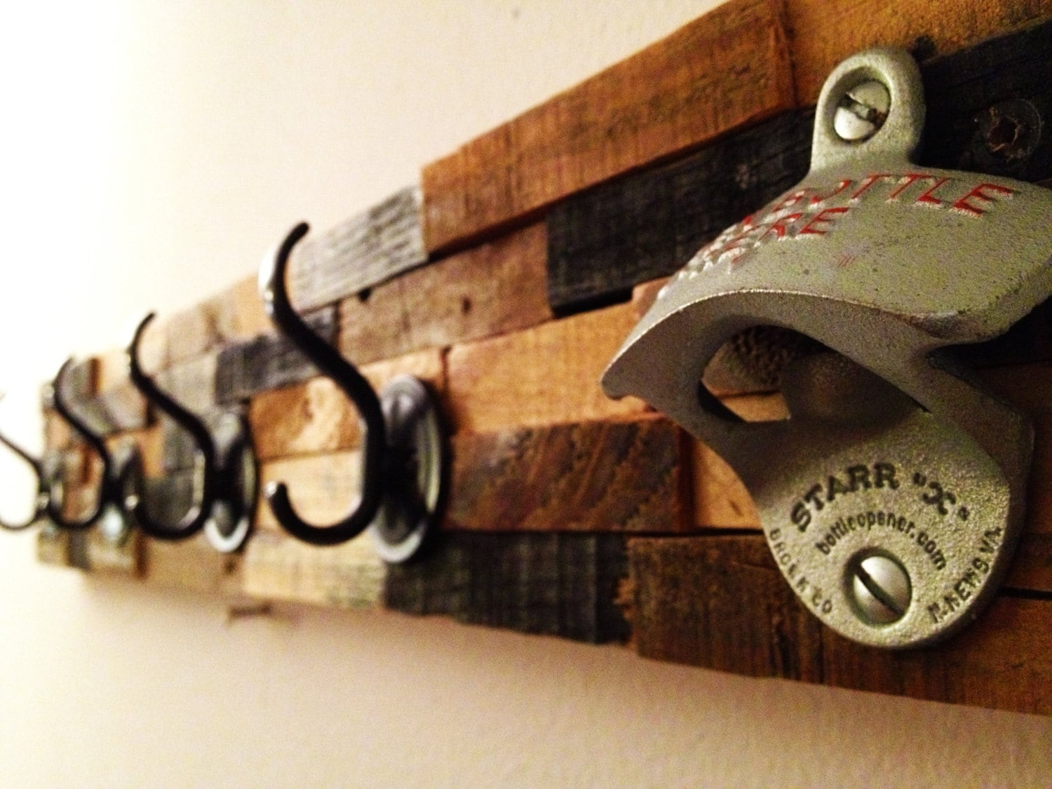 Rustic Coat Rack Bottle Opener: Come on in, hang your coat, and pop a brew. Great Conversation Piece. - Palletso