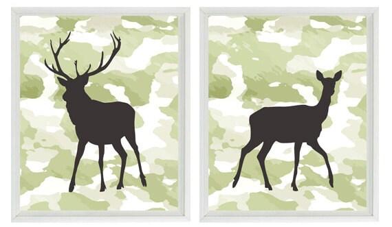 Deer Wall Art Print Camouflage Nursery Boy Room Hunter Wild Animal