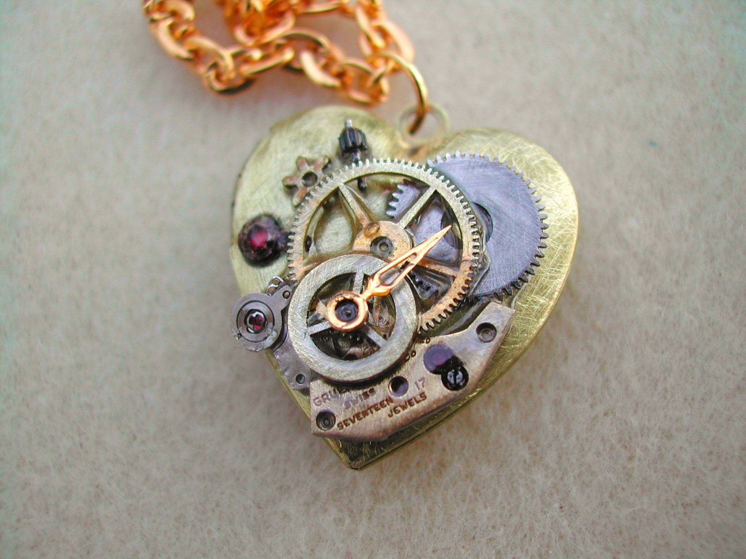 Clockwork Heart --a Steampunk Valentine necklace --personalized