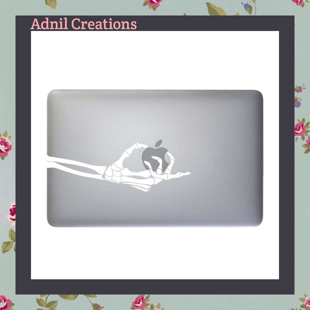 Skeleton holding Apple Macbook Decal Apple Macbook and other laptop stickers iPad decal iPad Stickers