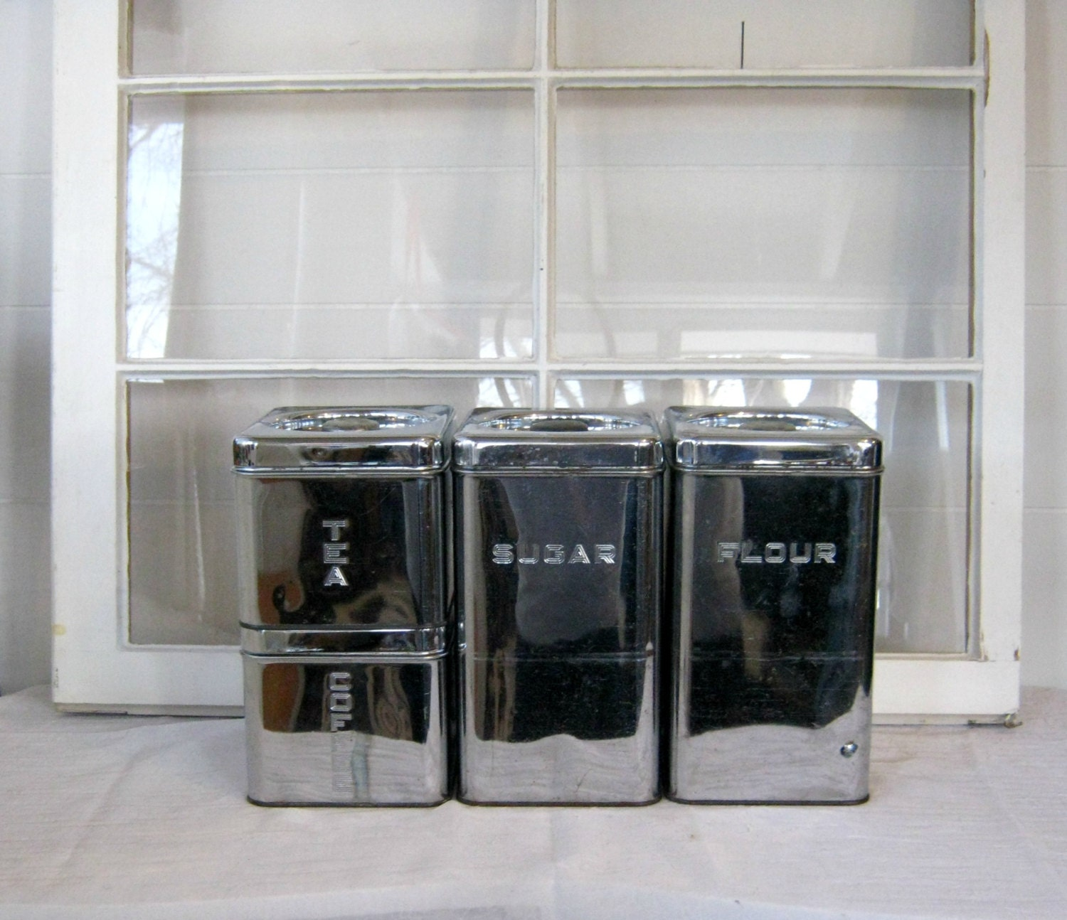 retro chrome kitchen canister set shabby chic by peacockattic