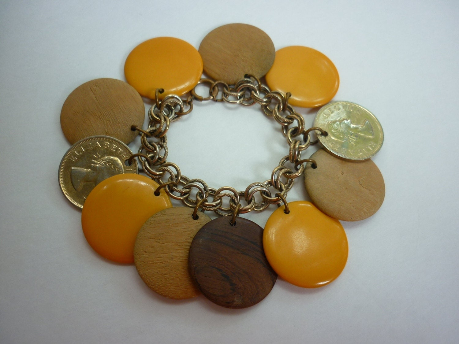 50s Dangling Disc Charm Bracelet w Bakelite / Wood / Coins CHUNKY Mid Century - decotodiscovintage