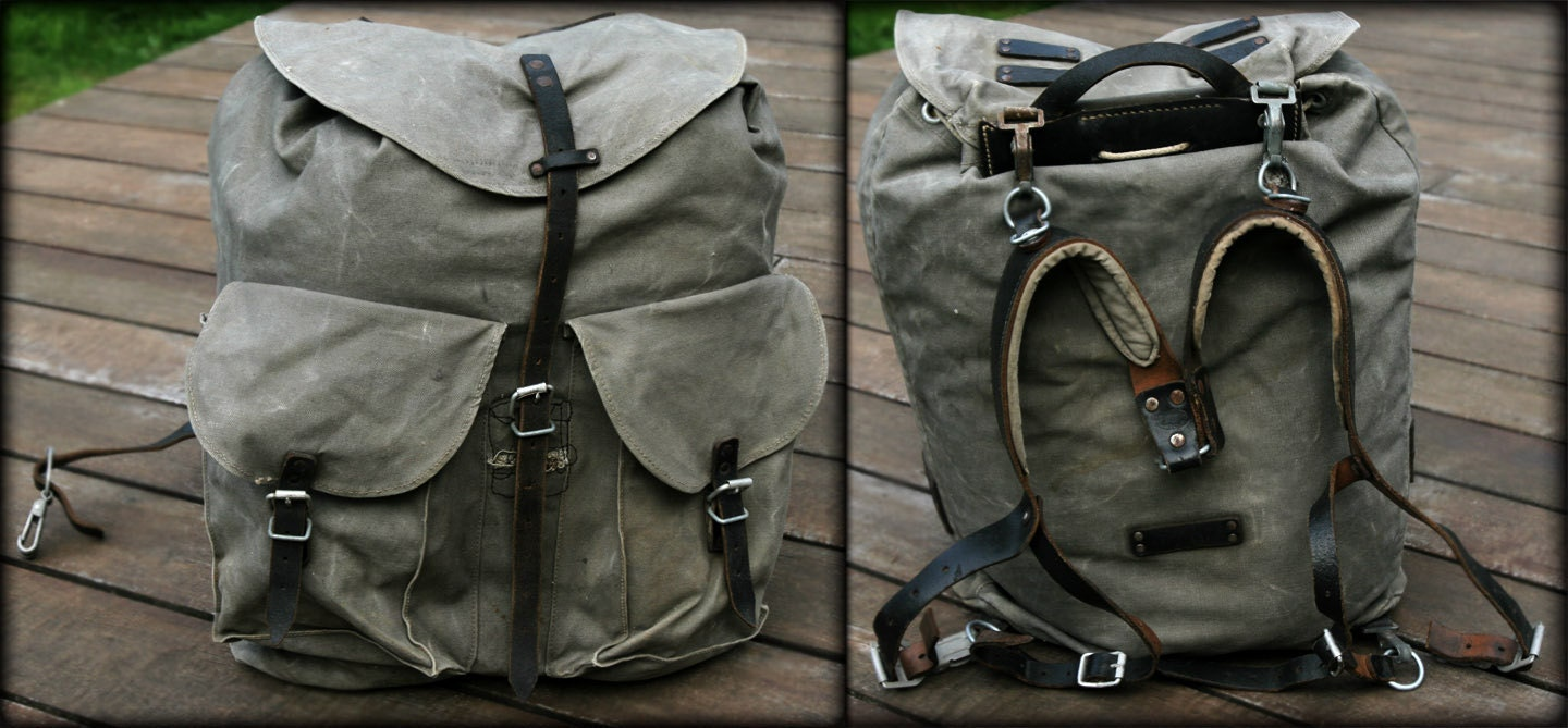 Vintage Austrian Military Army Leather Canvas by ...