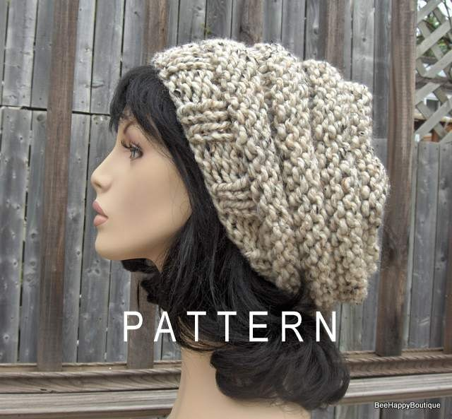 Beehive Knitting Patterns : Slouchy Hat Beehive PATTERN Hat Knit Beehive by BeeHappyBoutique